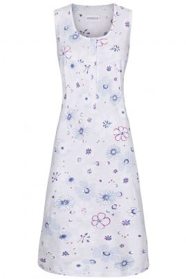 Sleeveless cotton nightdress Light Blue