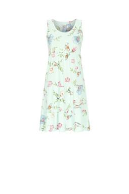 Sleeveless nightdress with ruffles Turquoise