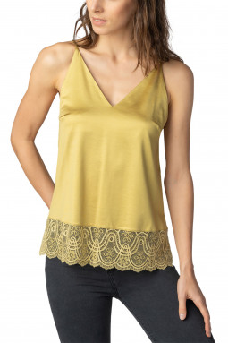 Colette top with lace Olive Sand