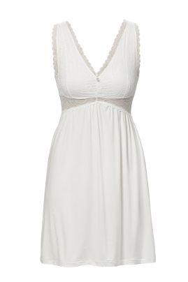 Ночная сорочка без рукавов с кружевом  White